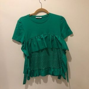 Zara Green Lace T-Shirt